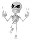 3D Skeleton Mascot is taking a gesture of victory. 3D Skull Char Royalty Free Stock Photos