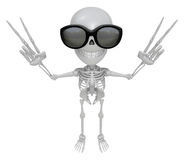 3D Skeleton Mascot is taking a gesture of victory. 3D Skull Char Stock Photo