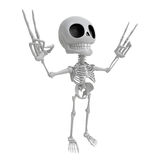 3D Skeleton Mascot is taking a gesture of victory. 3D Skull Char Royalty Free Stock Image