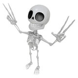 3D Skeleton Mascot is taking a gesture of victory. 3D Skull Char Royalty Free Stock Photography