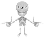 3D Skeleton Mascot is taking gestures of Double pistols. 3D Skul Royalty Free Stock Image