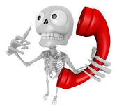 3D Skeleton Mascot is telephone hand gestures. 3D Skull Characte Stock Photography