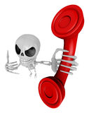 3D Skeleton Mascot is telephone hand gestures. 3D Skull Characte Royalty Free Stock Photography