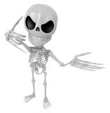 3D Skeleton Mascot is telephone hand gestures. 3D Skull Characte Royalty Free Stock Images