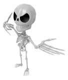 3D Skeleton Mascot is telephone hand gestures. 3D Skull Characte Stock Photos