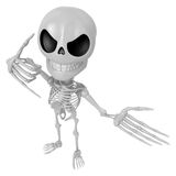 3D Skeleton Mascot is telephone hand gestures. 3D Skull Characte Stock Images