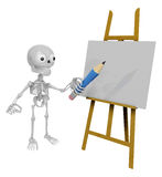 3D Skeleton Mascot is There in front of the easel holding a penc Royalty Free Stock Images