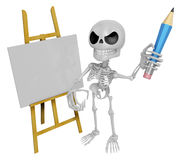 3D Skeleton Mascot is There in front of the easel holding a penc Stock Photo