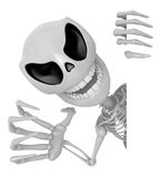 3D Skeleton Mascot is threatening the security. 3D Skull Charact Royalty Free Stock Image