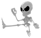 3D Skeleton Mascot to be powerful Fly kick. 3D Skull Character D Royalty Free Stock Images