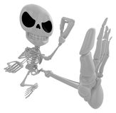 3D Skeleton Mascot to be powerful Fly kick. 3D Skull Character D Royalty Free Stock Photo