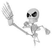 3D Skeleton Mascot to be powerful Fly kick. 3D Skull Character D Stock Photo