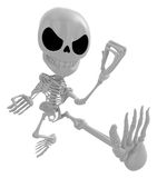 3D Skeleton Mascot to be powerful whip kicks. 3D Skull Character Royalty Free Stock Photo
