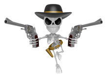 3D Skeleton Mascot is villains holding a revolver gun with both Stock Image