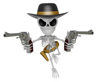 3D Skeleton Mascot is villains holding a revolver gun with both Royalty Free Stock Images