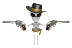 3D Skeleton Mascot is villains holding a revolver gun with both Stock Photography