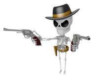3D Skeleton Mascot is villains holding a revolver gun with both Royalty Free Stock Photography