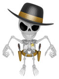 3D Skeleton Mascot is villains taking to pose a gunfight. 3D Sku Stock Image