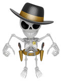 3D Skeleton Mascot is villains taking to pose a gunfight. 3D Sku Stock Photography