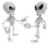 3D Skeleton Mascot is wrangling with a person about a matter. 3D Stock Photos