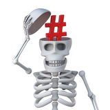 3d Skeleton opens skull to reveal hashtag symbol. 3d render of a skeleton lifting the top of its skull to reveal a hashtag symbol Royalty Free Stock Images