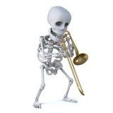 3d Skeleton playing a trombone Stock Image