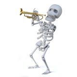 3d Skeleton playing a trumpet Stock Images