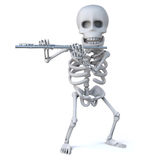 3d Skeleton plays the flute Stock Photography