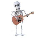 3d Skeleton plays guitar. 3d render of a skeleton playing an acoustic guitar Stock Photos