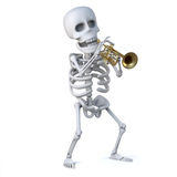 3d Skeleton plays a mean jazz trumpet Royalty Free Stock Photography