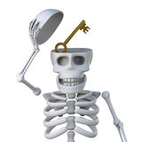 3d Skeleton reals a gold key in his head Royalty Free Stock Photography