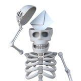3d Skeleton reveals a letter inside his skull Royalty Free Stock Photo