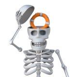 3d Skeleton reveals a life ring inside his skull Stock Images