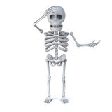 3d Skeleton is shocked. 3d render of a skeleton with one hand on his head and the other out in a gesture of surprise Stock Photos