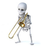 3d Skeleton trombonist. 3d render of a skeleton playing a trombone Royalty Free Stock Photos