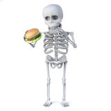 3d Skeleton wants to eat a beef burger Stock Photo