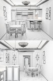 3d sketch of an interior of the kitchen Royalty Free Stock Image