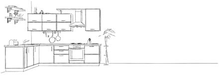 3d sketch drawing of modern kitchen interior on long background. Modern corner kitchen interior. Black and white 3d sketch drawing on long background Royalty Free Stock Photography