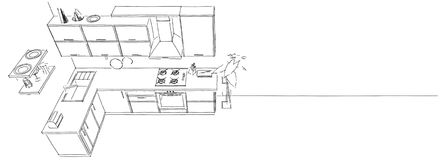 3d sketch drawing of modern kitchen interior on long background top view Stock Image