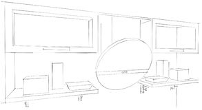 3d Sketch drawing of round kitchen hood and cupboards with glass. 3d illustration on white background Royalty Free Stock Photos