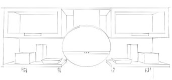 3d Sketch drawing of round kitchen hood and cupboards with glass. 3d illustration on white background monochrome Stock Image