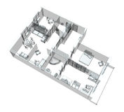3d sketch of a four-room apartment. Isolated on white background Royalty Free Stock Photography