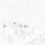 3d sketch of a house. Concept of architect project, architecture. 3d sketch of a house. Geometric lines. Concept of architect project, architecture design Stock Illustration