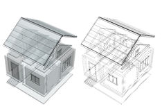 3d sketch of a house Royalty Free Stock Photos