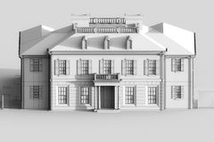 3d sketch of luxury mansion house. Grey color. 3d render Stock Photos