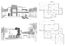3d sketch of a modern private building with a terrace, facade and back yard view surrounded by palm trees. Floor plan layout. Blueprint. Illustration Stock Photos