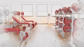 3D sketched background of a gym interior. 3D render of a sketched background of a gym interior Stock Photo