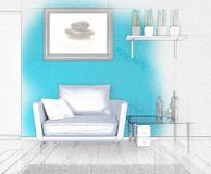 3D sketched background of a modern lounge interior. 3D render of a sketched background of a modern lounge interior Stock Image