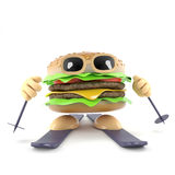 3d Skiing burger Stock Photography