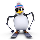 3d Skiing penguin Stock Photography